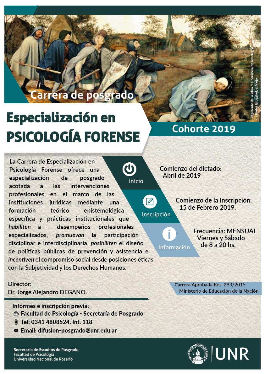 especializacion en psicologia forence 2019