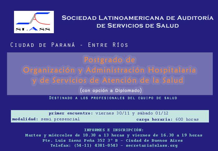 posgrado de organizacion y administracion hospitalaria